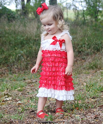 Red & White Lace Ruffle Dress - Infant, Toddler & Girls