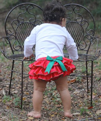 Red Ruffle Diaper Cover - Infant