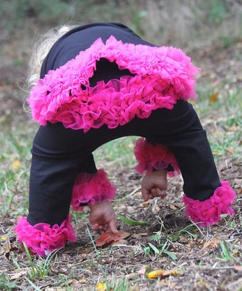 Black & Hot Pink Ruffle Pants - Infant & Toddler