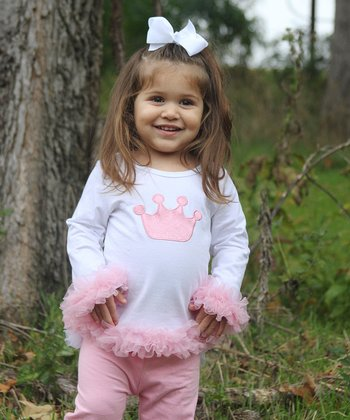 White & Pink Crown Ruffle Tee - Infant & Toddler
