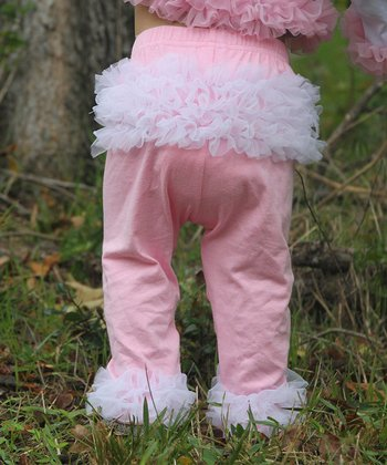 Light Pink & White Ruffle Pants - Infant & Toddler