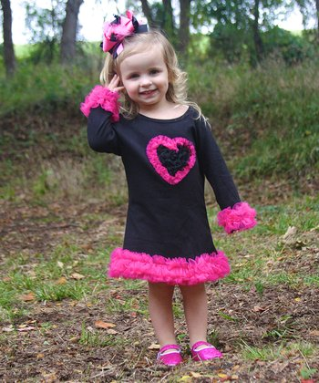 Black & Hot Pink Ruffle Heart Dress - Infant, Toddler & Girls