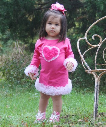 Hot Pink & White Ruffle Heart Dress - Infant, Toddler & Girls