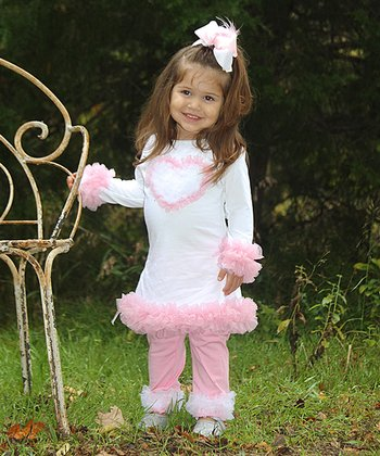 White & Pink Ruffle Heart Dress - Infant, Toddler & Girls