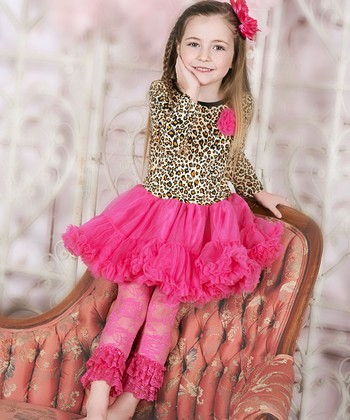 Cheetah Flower Long-Sleeve Ruffle Dress - Infant, Toddler & Girls