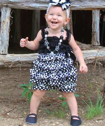 Black & White Polka Dot Dress & Shorts - Infant