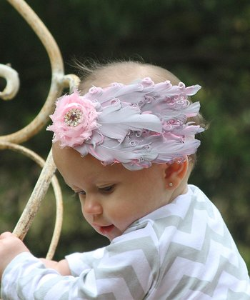 Pink & Gray Bow Feather Headband