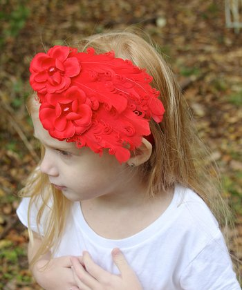 Red Flower Feather Headband