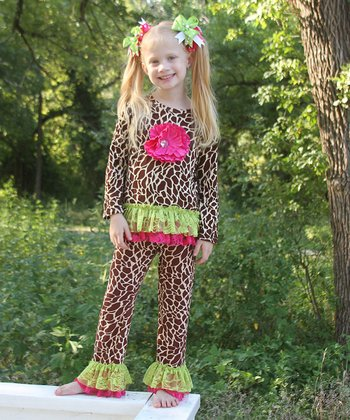 Pink & Giraffe Flower Ruffle Top & Pants - Toddler & Girls