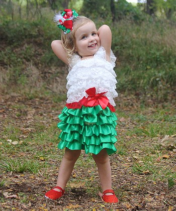 White & Green Ruffle Dress - Toddler & Girls