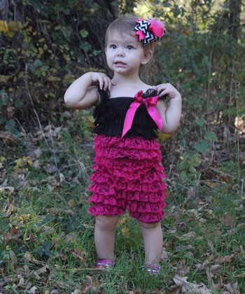 Hot Pink & Black Lace Ruffle Romper - Toddler & Girls