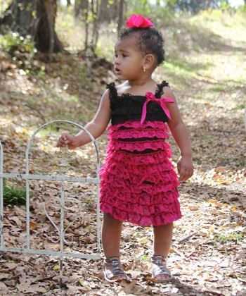 Hot Pink & Black Lace Ruffle Dress - Infant & Toddler