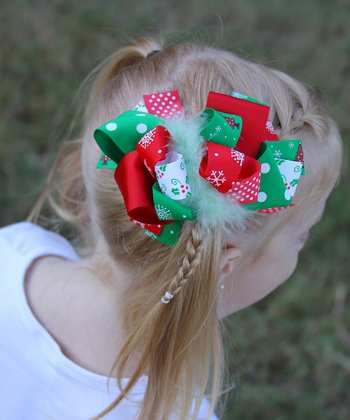 Green & Red Feather Holiday Bow