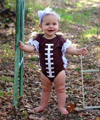Brown Football Ruffle Short-Sleeve Bodysuit - Infant