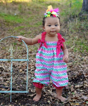 Hot Pink & Green Zigzag Bubble Romper - Infant