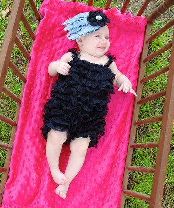 Black Lace Ruffle Romper - Infant & Toddler