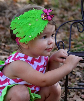 Hot Pink & Lime Bow Feather Headband