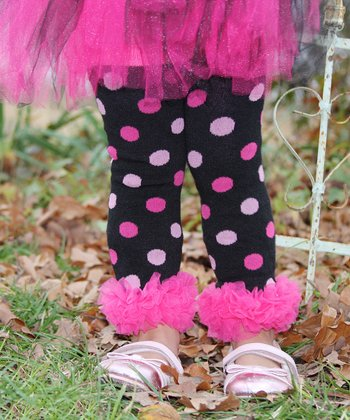 Hot Pink Polka Dot Ruffle Leg Warmers