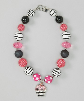 Hot Pink & Black Cupcake Necklace