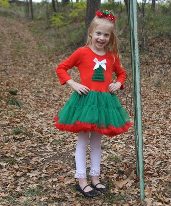 Red & Green Christmas Tree Ruffle Dress - Infant, Toddler & Girls