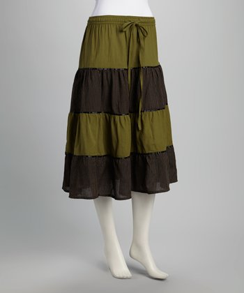 Olive Hand-Loomed Tiered Skirt