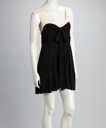 Black Two-Layer Scoop-Neck Dress
