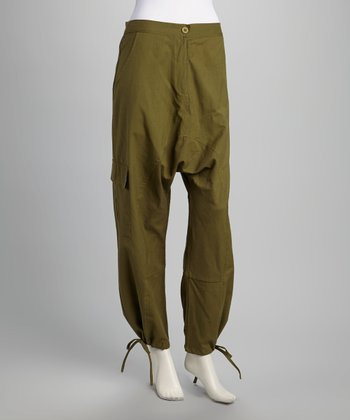 Olive Cargo Pocket Harem Pants