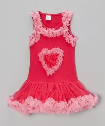 Hot Pink Heart Tulle Dress - Infant, Toddler & Girls