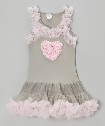 Gray & Pink Heart Tulle Dress - Infant, Toddler & Girls