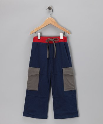Indigo & Red Organic Cargo Pants - Toddler & Kids