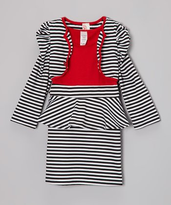 Red & Black Stripe Peplum Dress & Jacket - Girls