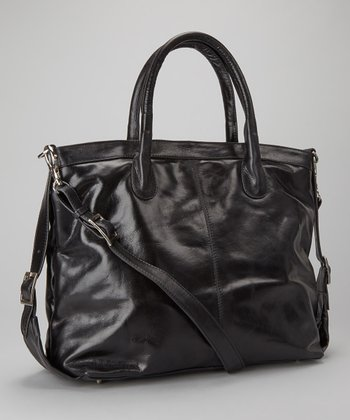 Black Gathered Tote