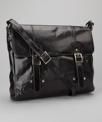 Black Buckle Messenger Bag