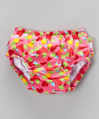 Hot Pink Bird & Heart Ruffle Swim Diaper - Infant