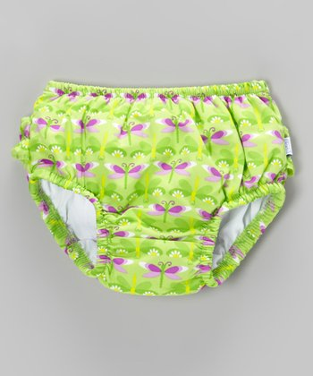 Lime Dragonfly Ruffle Swim Diaper - Infant