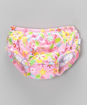 Light Pink Flower Field Ruffle Swim Diaper - Infant