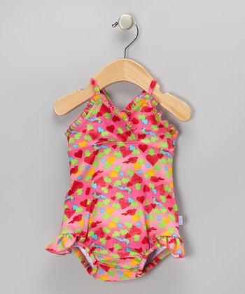 Hot Pink Bird & Heart Ruffle Skirted One-Piece - Infant & Toddler