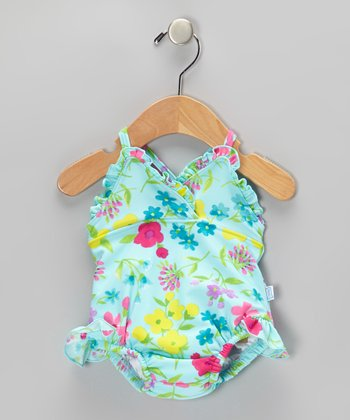 Aqua Floral Ruffle Skirted One-Piece - Infant