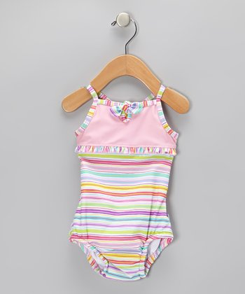 Pink & Aqua Stripe Bow One-Piece - Infant