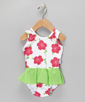 White Blossom Skirted One-Piece - Infant & Toddler