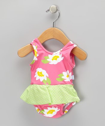 Hot Pink Lotus Skirted One-Piece - Infant