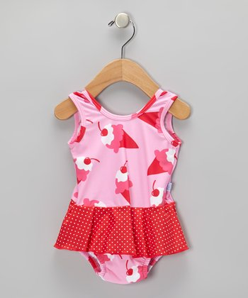 Light Pink Ice Cream Skirted One-Piece - Infant & Toddler