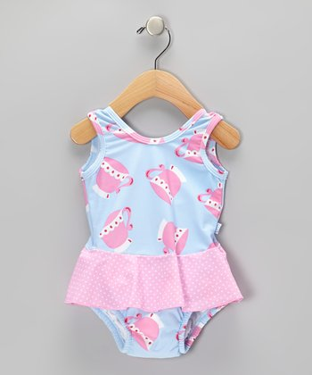 Light Blue Teacup Skirted One-Piece - Infant & Toddler