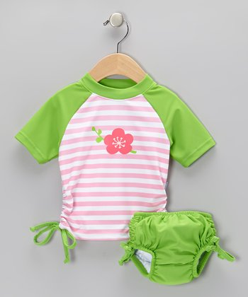 Lime Blossom Tie Rashguard & Swim Diaper - Infant & Toddler