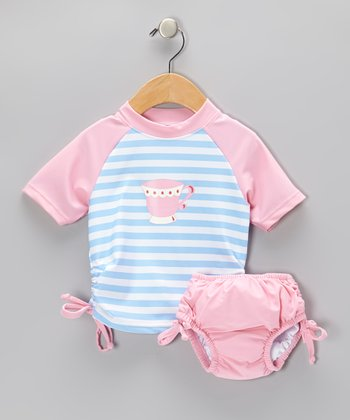 Light Blue Teacup Rashguard & Pink Swim Diape - Infant & Toddler