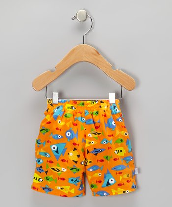 Orange Fish Swim Trunks - Infant & Toddler