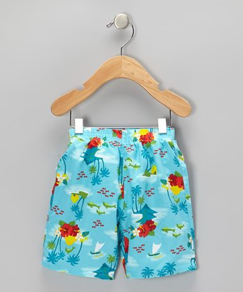 Aqua Hawaiian Swim Trunks - Infant & Toddler