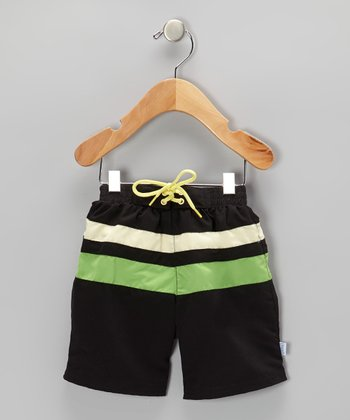 Black & Green Color Block Board Shorts - Infant & Toddler