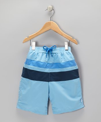 Light Blue & Navy Color Block Board Shorts - Infant & Toddler