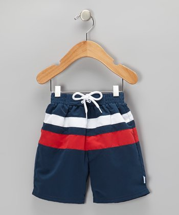 Navy & Red Color Block Board Shorts - Infant & Toddler